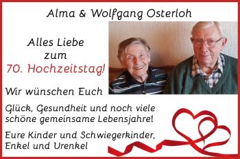 Hochzeitsanzeige von Alma Osterloh von WESER-KURIER