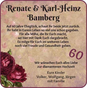 Hochzeitsanzeige von Renate Bamberg von Die Norddeutsche