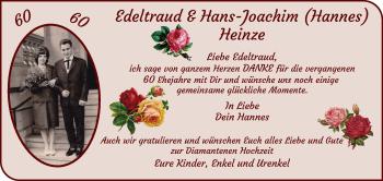 Hochzeitsanzeige von Edeltraud Heinze von WESER-KURIER