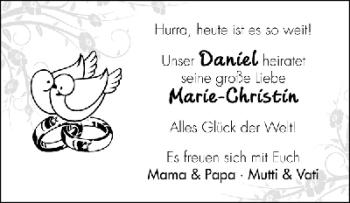 Hochzeitsanzeige von Marie-Christin  von WESER-KURIER