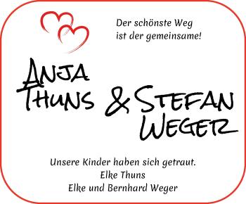 Hochzeitsanzeige von Anja Thuns von WESER-KURIER