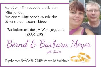 Hochzeitsanzeige von Bernd Meyer von Wuemme Zeitung