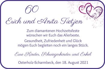 Hochzeitsanzeige von Erich Tietjen von Osterholzer Kreisblatt