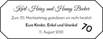 Hochzeitsanzeige von Karl-Heinz Becker von WESER-KURIER