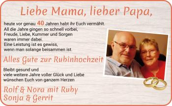 Hochzeitsanzeige von Mama  von Osterholzer Kreisblatt