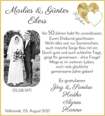 Hochzeitsanzeige von Marlies Eilers von Osterholzer Kreisblatt
