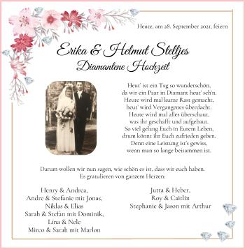 Hochzeitsanzeige von Erika Stelljes von Osterholzer Kreisblatt