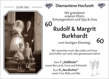 Hochzeitsanzeige von Rudolf Burkhardt von Die Norddeutsche